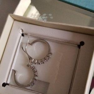 Sterling silver aquamarine and cz hoop earrings